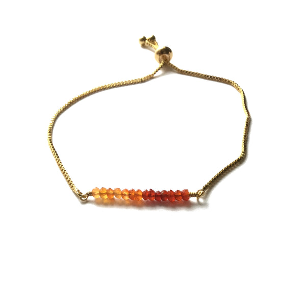 Natural carnelian gemstone bar gold stainless steel box chain adjustable bracelet
