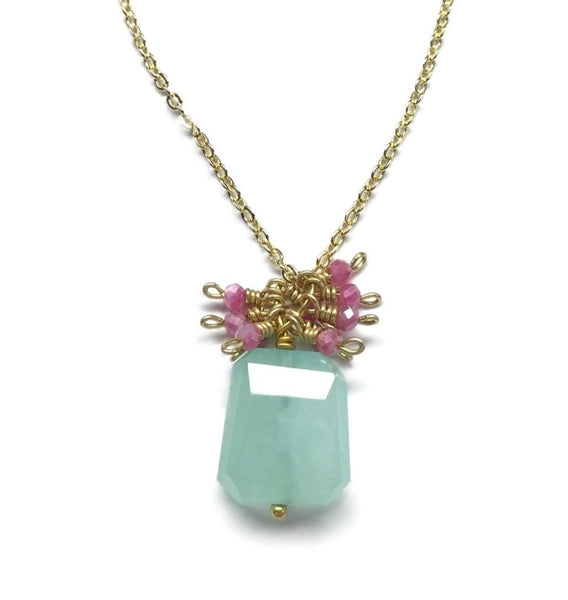 faceted green chalcedony gemstone pink moonstone necklace