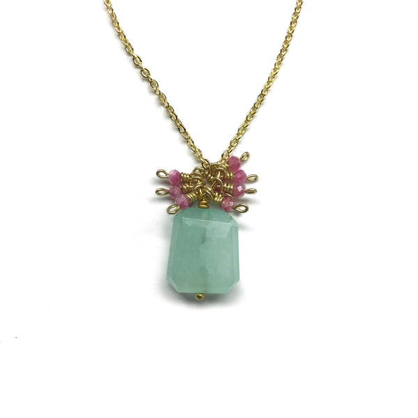 green chalcedony gemstone pink moonstone necklace