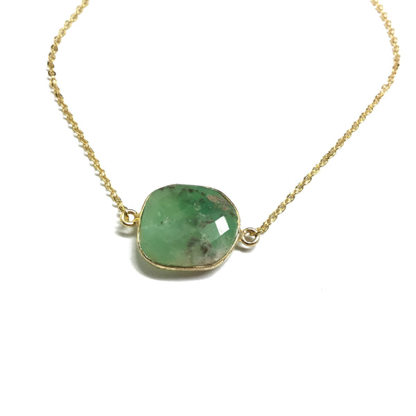 faceted chrysoprase gemstone necklace