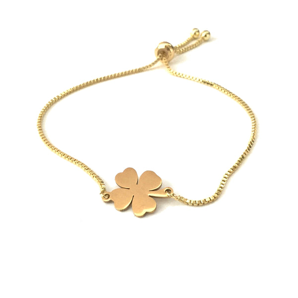 Gold Four Leaf Clover Adjustable Bracelet
