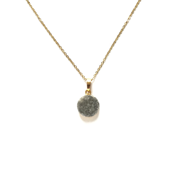 Gold electroplated edge grey druzy round pendant necklace