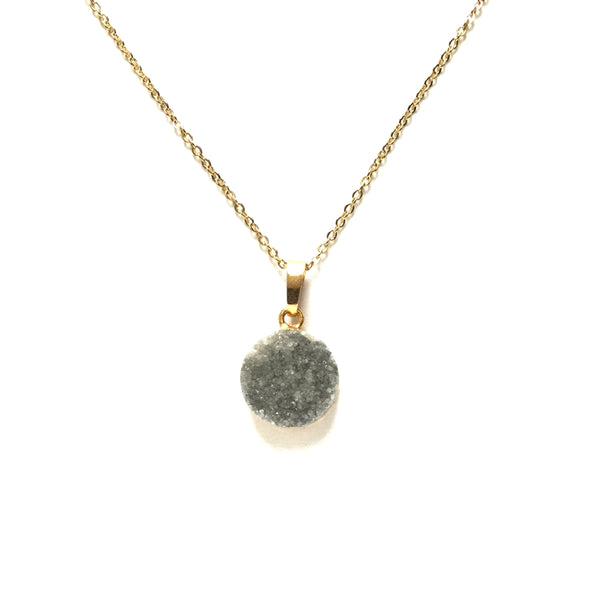 Gold plated electroplated edge grayy druzy round pendant necklace