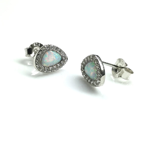 Sterling Silver Cubic Zirconia Opal Stud Earrings