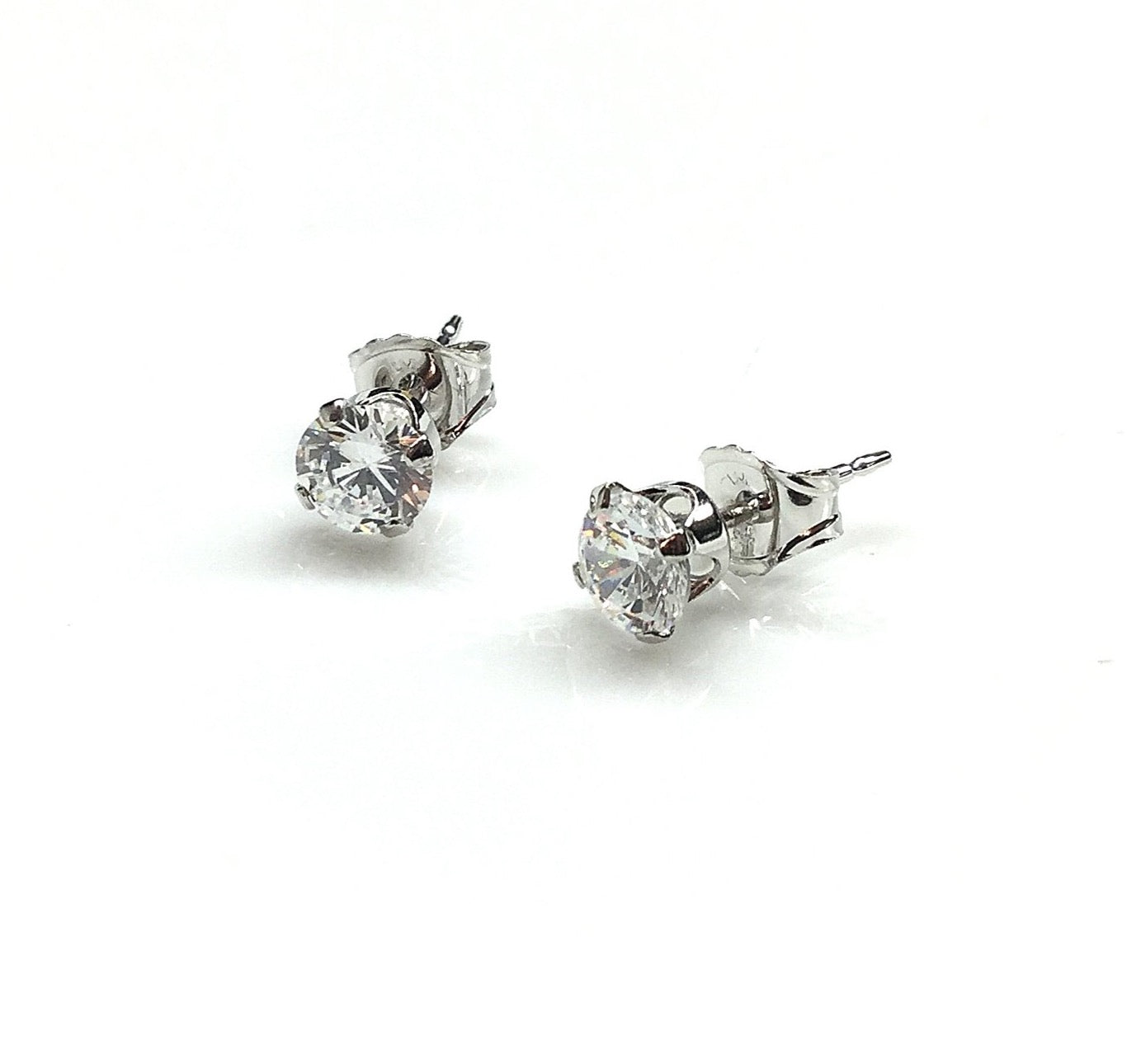 Round Sterling Silver CZ Stud Earrings