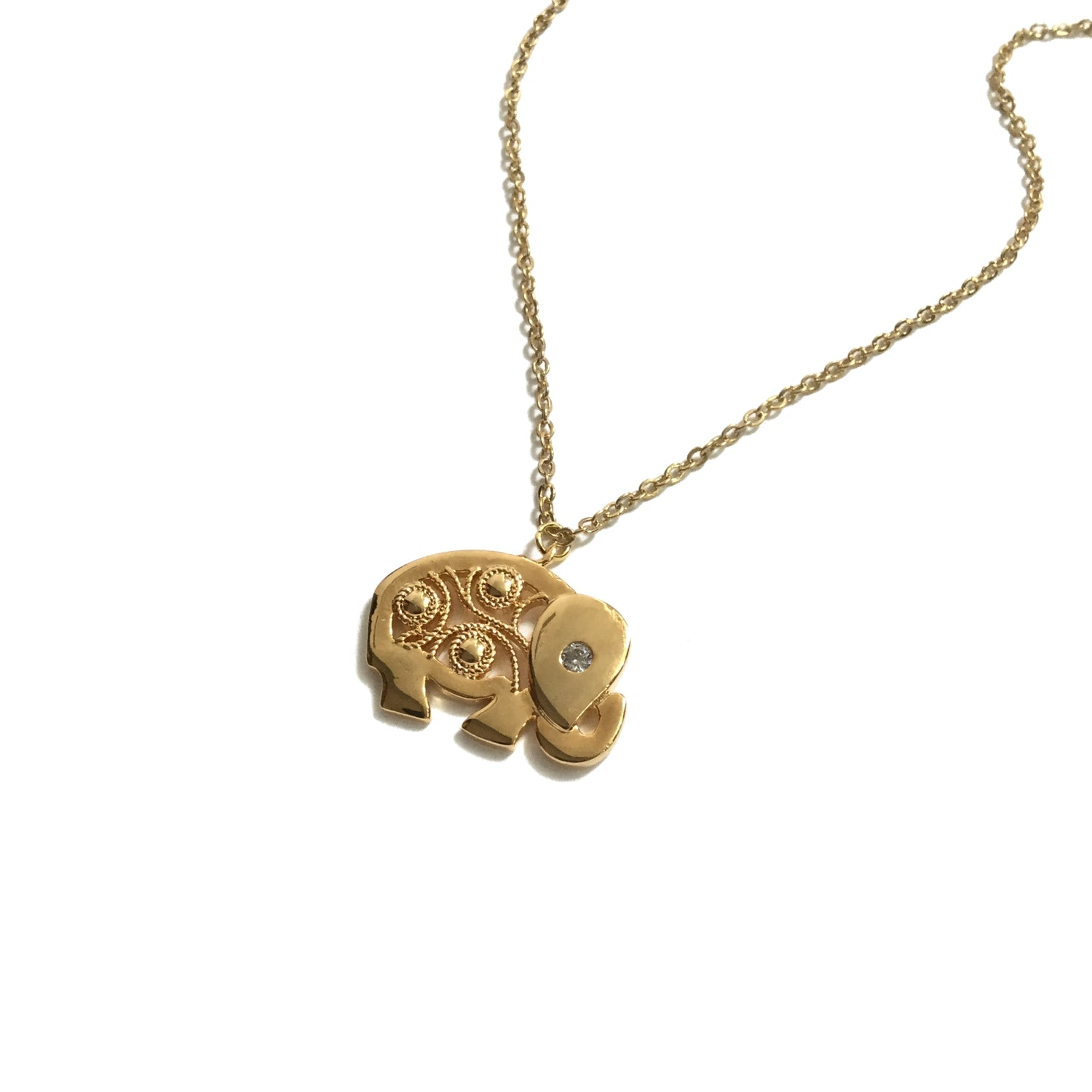 Gold plated elephant cubic zirconia necklace
