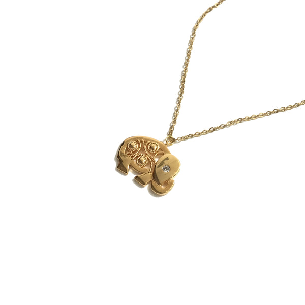Gold plated good luck elephant cubic zirconia necklace