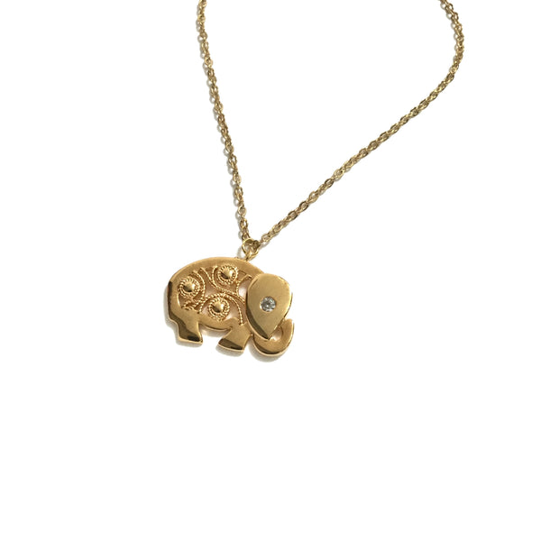 Elephant and Cubic Zirconia gold plated Necklace