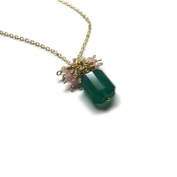 green onyx pink moonstone gemstone gold necklace