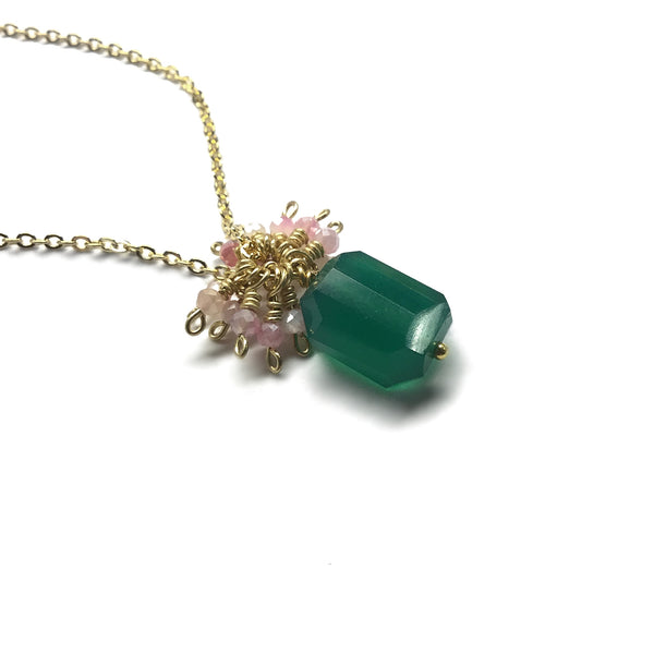 emerald green onyx faceted gemstone pink moonstone gold necklace