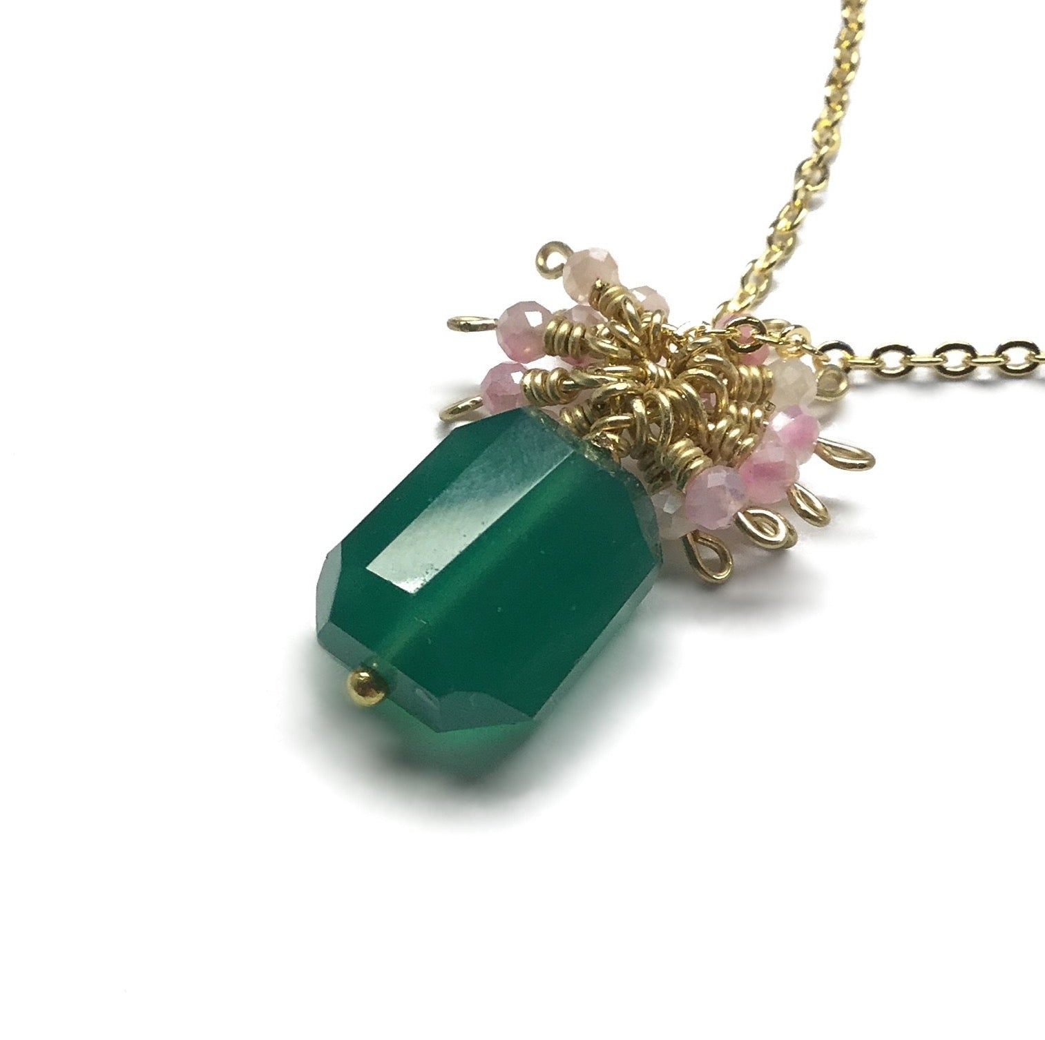 faceted green emerald onyx pink moonstone gemstone necklace