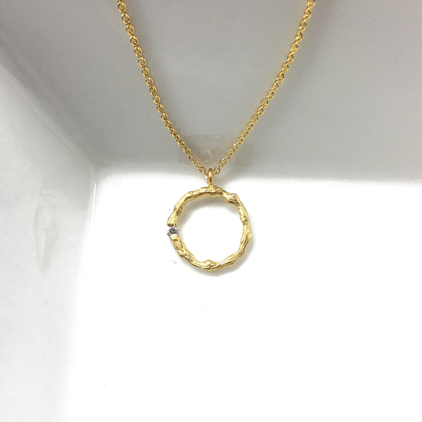 circle infinity eternity cz diamond gold necklace