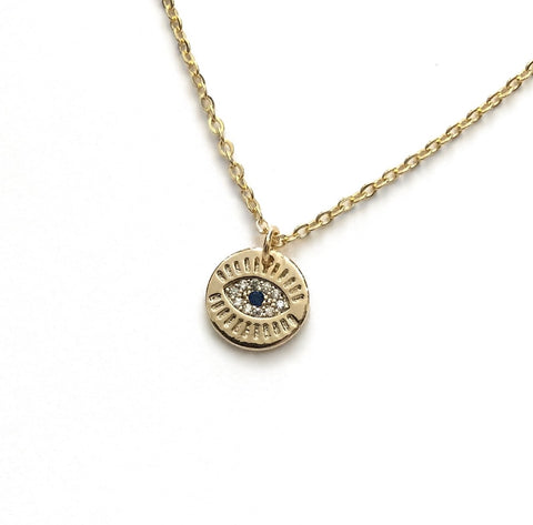 evil eye cubic zirconia blue pendant necklace