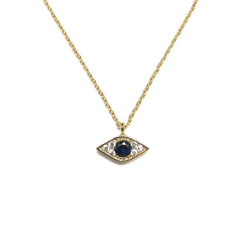 Gold plated evil eye white cubic zirconia with a larger faceted blue cubic zirconia necklace