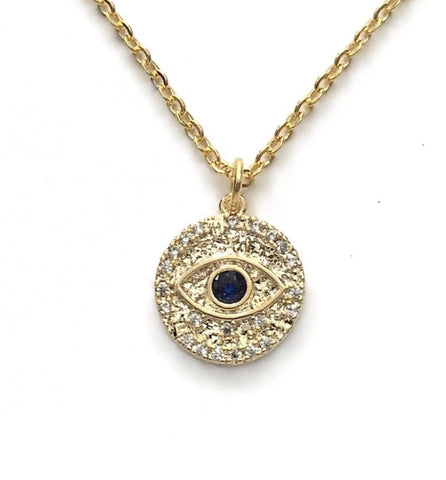 gold evil eye blue cubic zirconia protection medallion amulet necklace