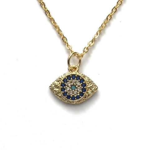 evil eye gold blue turquoise cubic zirconia protection necklace