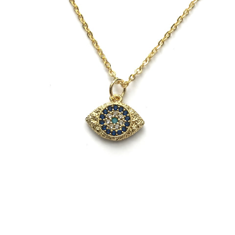 blue turquoise sparkly evil eye necklace