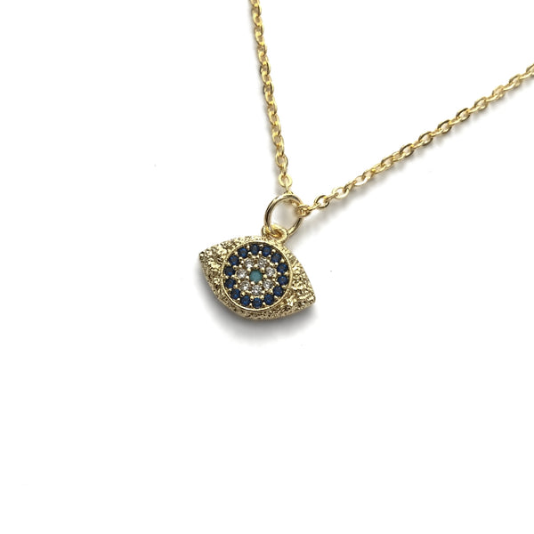 evil eye protection gold turquoise necklace