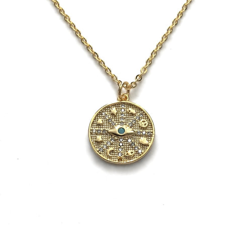 gold evil eye turquoise coin medallion necklace