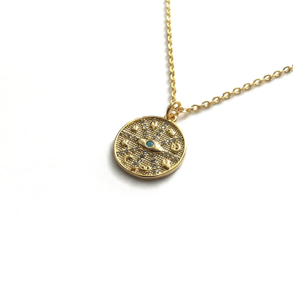 gold evil eye protection medallion necklace
