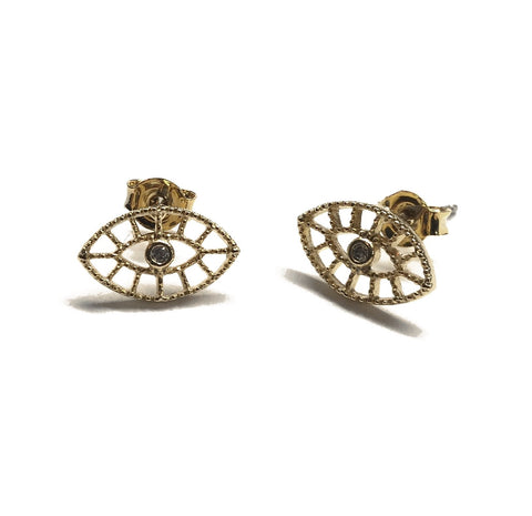 Gold plated evil eye filigree with cubic zirconia center stud earrings with sterling silver posts