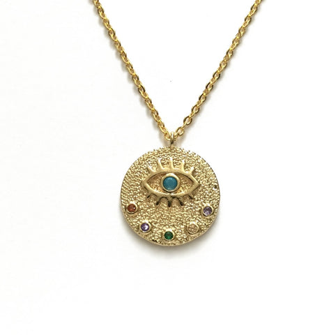 gold evil eye protection medallion coin necklace