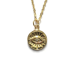 gold evil eye cubic zirconia pendant necklace