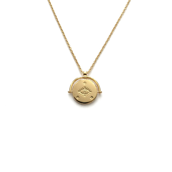 Gold coin evil eye necklace