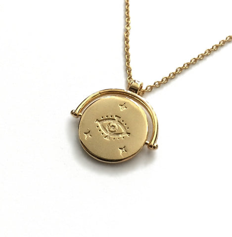 evil eye medallion coin necklace