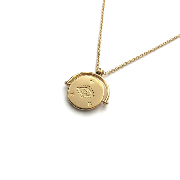 gold evil eye coin medallion pendant