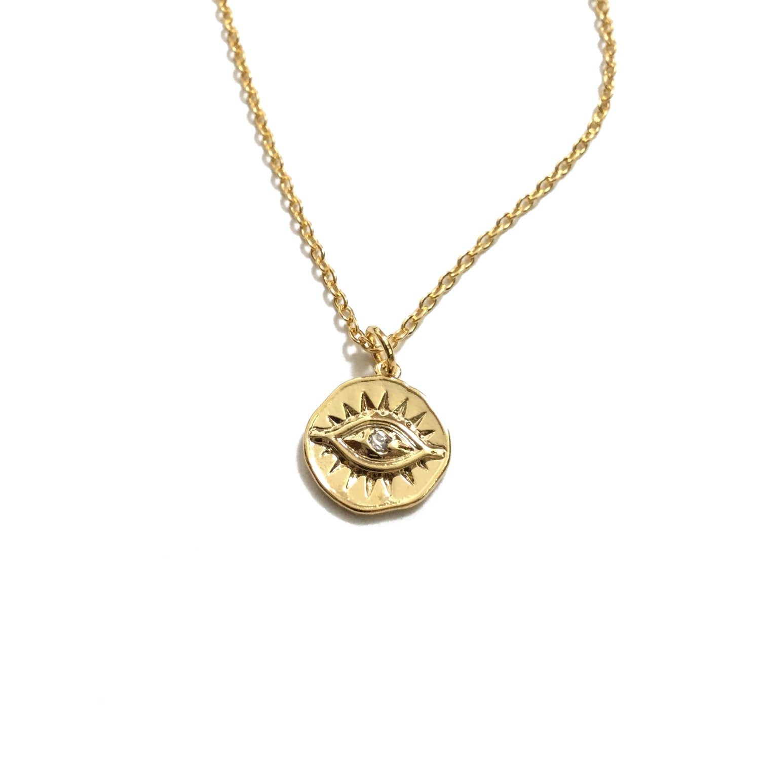 Gold plated Evil Eye Cubic Zirconia Coin Necklace