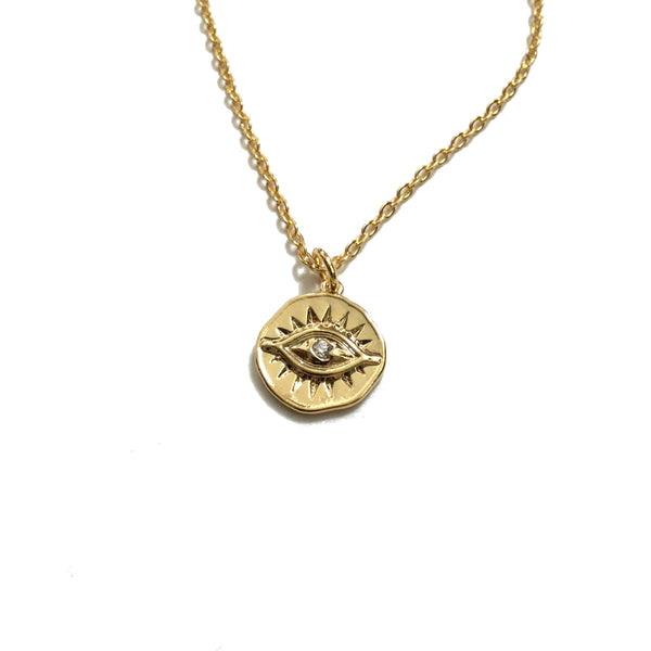 Gold plated evil eye coin cubic zirconia pendant necklace