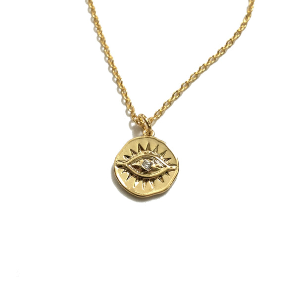 Evil Eye Cubic Zirconia Coin Necklace