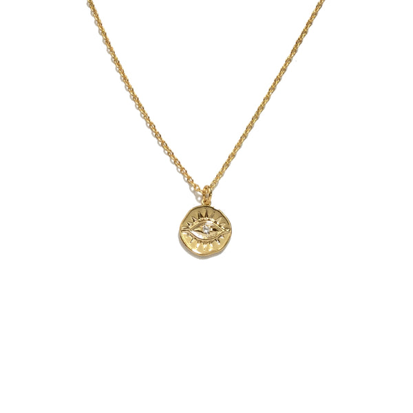 Gold plated evil eye cubic zirconia round coin necklace