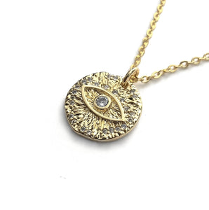 gold evil eye cz luck protection amulet pendant necklace