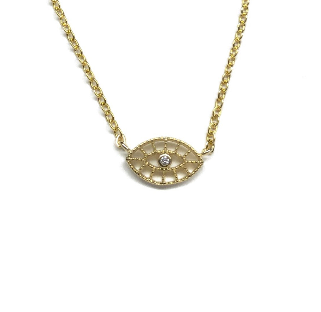 Gold plated tiny evil eye cubic zirconia filigree necklace