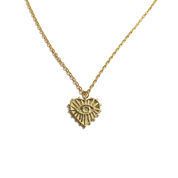 Gold plated heart shaped evil eye pendant necklace