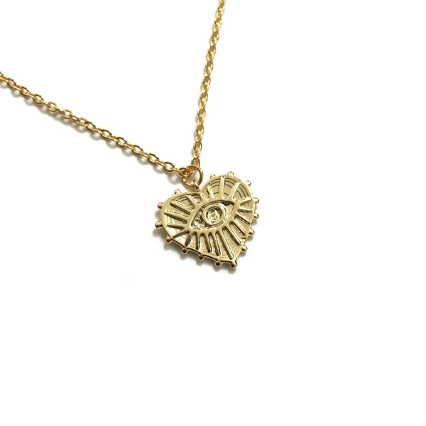 Gold plated evil eye heart necklace
