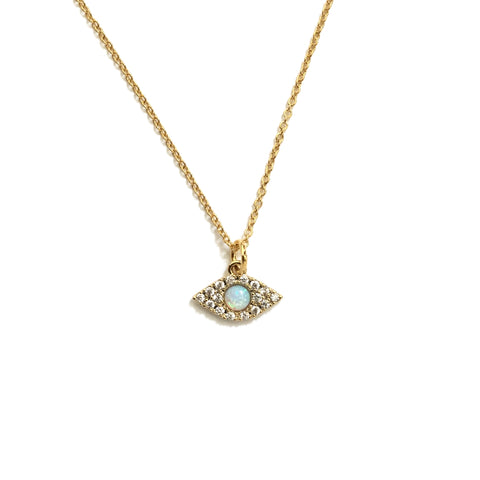Evil eye opal cubic zirconia necklace