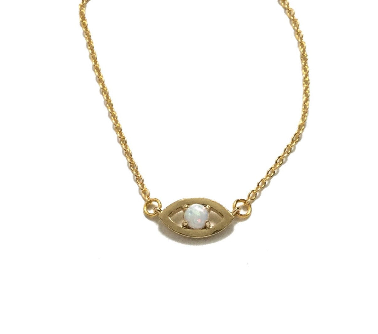 Gold plated evil eye opal necklace