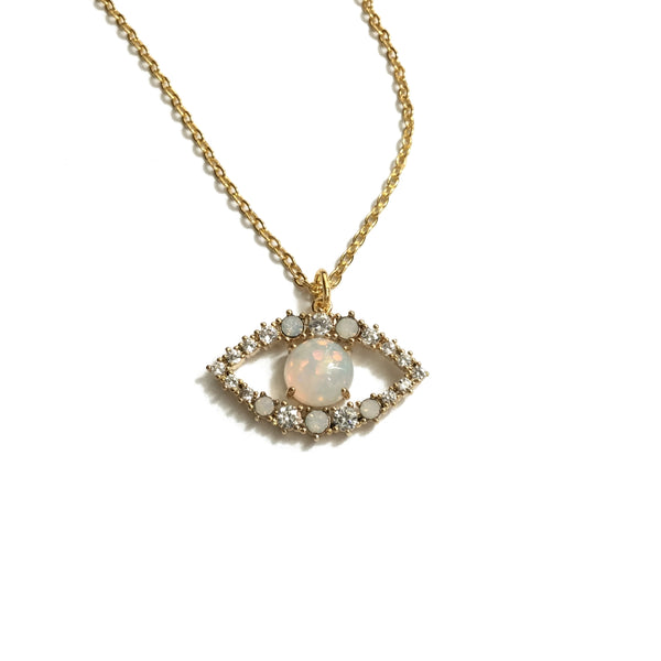 Evil Eye Opal and Cubic Zirconia Necklace