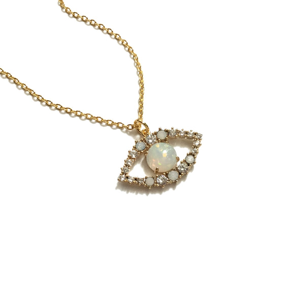 Gorgeous gold plated evil eye opal and cubic zirconia pendant necklace