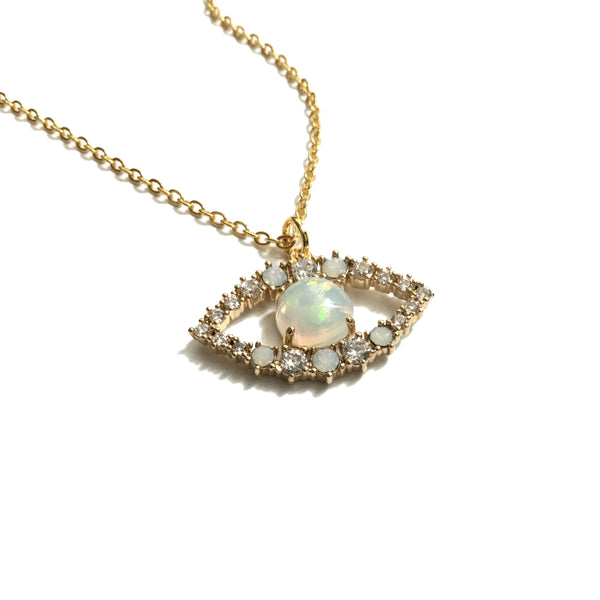 Gold evil eye pendant with cubic zirconia and opal necklace