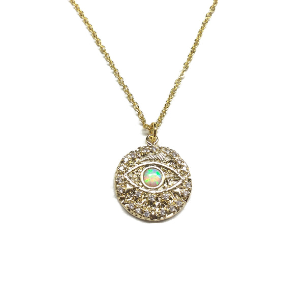 Gold plated evil eye cubic zirconia and opal medallion necklace