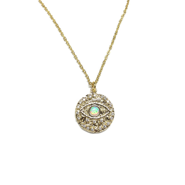 Gold plated opal cubic zirconia diamonds evil eye necklace