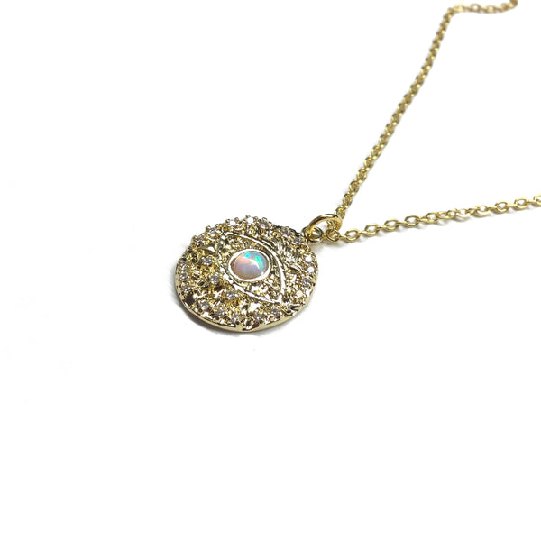 Evil eye Cubic Zirconia and Opal Medallion Necklace