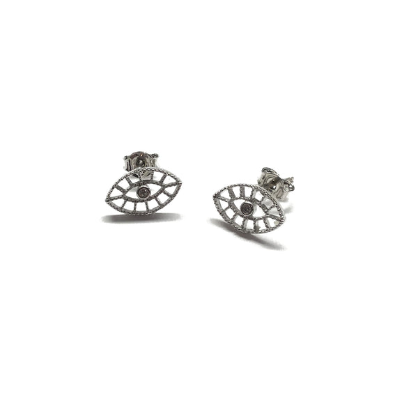 Silver plated evil eye filigree with cubic zirconia stud earrings with sterling silver posts