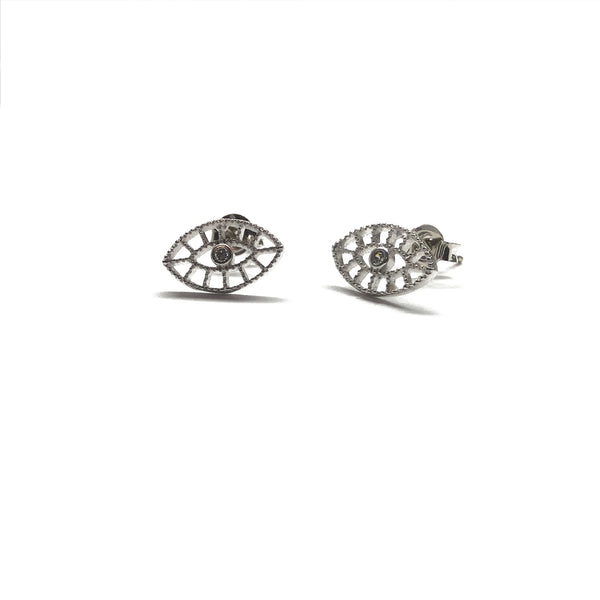 Silver Evil Eye Cubic Zirconia Stud Earrings