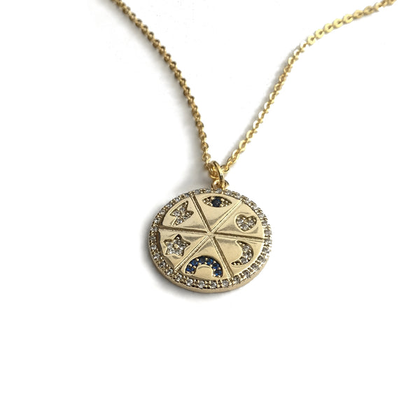 eye of protection lucky coin necklace