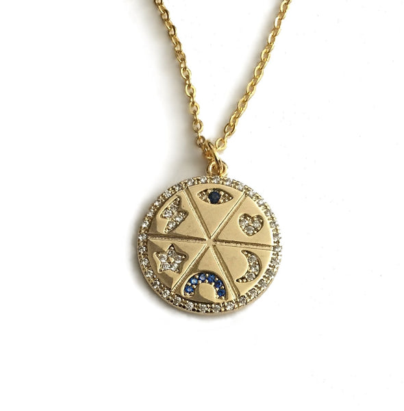 evil eye heart moon horseshoe star lightning bolt necklace